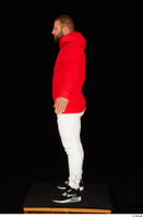 Dave black sneakers dressed red hoodie standing white pants whole body 0011.jpg