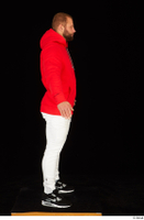 Dave black sneakers dressed red hoodie standing white pants whole body 0015.jpg