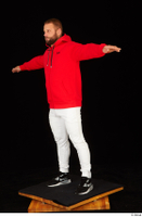 Dave black sneakers dressed red hoodie standing white pants whole body 0018.jpg