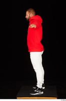 Dave black sneakers dressed red hoodie standing white pants whole body 0019.jpg
