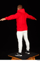 Dave black sneakers dressed red hoodie standing white pants whole body 0020.jpg