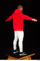 Dave black sneakers dressed red hoodie standing white pants whole body 0022.jpg