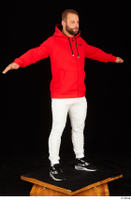 Dave black sneakers dressed red hoodie standing white pants whole body 0024.jpg