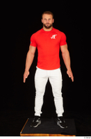 Dave black sneakers dressed red t shirt standing white pants whole body 0001.jpg