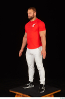 Dave black sneakers dressed red t shirt standing white pants whole body 0002.jpg