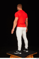 Dave black sneakers dressed red t shirt standing white pants whole body 0004.jpg