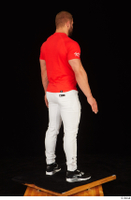 Dave black sneakers dressed red t shirt standing white pants whole body 0006.jpg