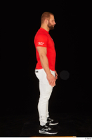 Dave black sneakers dressed red t shirt standing white pants whole body 0007.jpg