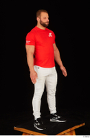 Dave black sneakers dressed red t shirt standing white pants whole body 0008.jpg
