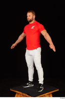 Dave black sneakers dressed red t shirt standing white pants whole body 0010.jpg
