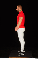 Dave black sneakers dressed red t shirt standing white pants whole body 0011.jpg