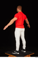 Dave black sneakers dressed red t shirt standing white pants whole body 0012.jpg