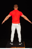 Dave black sneakers dressed red t shirt standing white pants whole body 0013.jpg