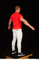 Dave black sneakers dressed red t shirt standing white pants whole body 0014.jpg