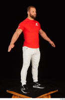 Dave black sneakers dressed red t shirt standing white pants whole body 0016.jpg