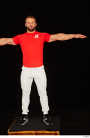 Dave black sneakers dressed red t shirt standing white pants whole body 0017.jpg