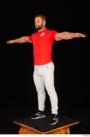 Dave black sneakers dressed red t shirt standing white pants whole body 0018.jpg