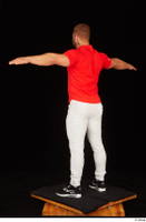 Dave black sneakers dressed red t shirt standing white pants whole body 0020.jpg