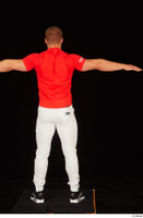 Dave black sneakers dressed red t shirt standing white pants whole body 0021.jpg