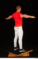 Dave black sneakers dressed red t shirt standing white pants whole body 0022.jpg