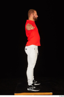Dave black sneakers dressed red t shirt standing white pants whole body 0023.jpg