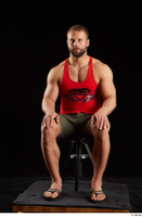 Dave  1 camo shorts dressed red tank top sandals sitting whole body 0007.jpg