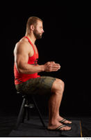 Dave  1 camo shorts dressed red tank top sandals sitting whole body 0013.jpg