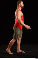 Dave  1 camo shorts dressed red tank top sandals side view walking whole body 0005.jpg