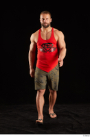 Dave  1 camo shorts dressed front view red tank top sandals walking whole body 0001.jpg