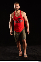 Dave  1 camo shorts dressed front view red tank top sandals walking whole body 0003.jpg