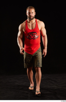 Dave  1 camo shorts dressed front view red tank top sandals walking whole body 0004.jpg