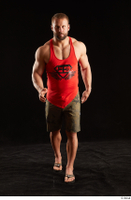 Dave  1 camo shorts dressed front view red tank top sandals walking whole body 0005.jpg