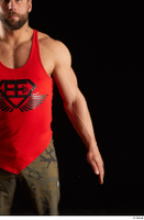 Dave  1 arm dressed flexing front view red tank top 0001.jpg