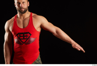 Dave  1 arm dressed flexing front view red tank top 0002.jpg