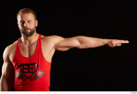 Dave  1 arm dressed flexing front view red tank top 0003.jpg
