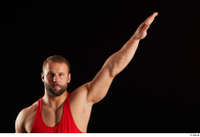 Dave  1 arm dressed flexing front view red tank top 0004.jpg