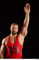 Dave  1 arm dressed flexing front view red tank top 0005.jpg