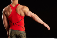 Dave  1 arm back view dressed flexing red tank top 0002.jpg