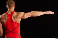 Dave  1 arm back view dressed flexing red tank top 0003.jpg
