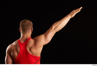 Dave  1 arm back view dressed flexing red tank top 0004.jpg