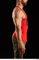 Dave  1 arm dressed flexing red tank top side view 0001.jpg
