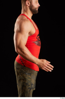 Dave  1 arm dressed flexing red tank top side view 0002.jpg