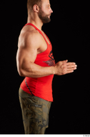 Dave  1 arm dressed flexing red tank top side view 0003.jpg