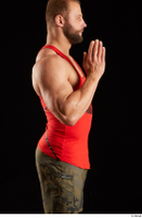 Dave  1 arm dressed flexing red tank top side view 0005.jpg