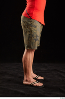 Dave  1 camo shorts dressed flexing leg sandals side view 0001.jpg