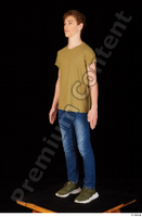 Matthew blue jeans brown t shirt casual dressed green sneakers standing whole body 0002.jpg