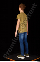Matthew blue jeans brown t shirt casual dressed green sneakers standing whole body 0004.jpg