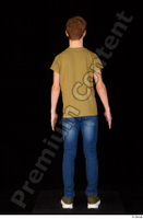 Matthew blue jeans brown t shirt casual dressed green sneakers standing whole body 0005.jpg