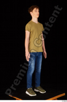 Matthew blue jeans brown t shirt casual dressed green sneakers standing whole body 0008.jpg