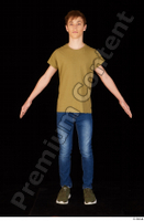 Matthew blue jeans brown t shirt casual dressed green sneakers standing whole body 0009.jpg